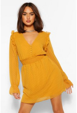 Mustard yellow Dobby Button Shirred Waist Skater Dress