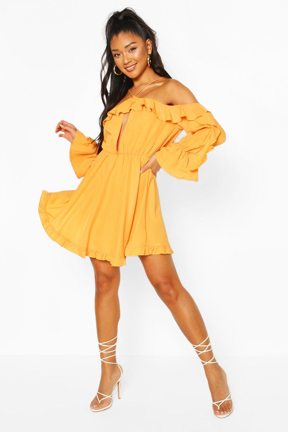 Don't Miss Out Off The Shoulder Ruffle Keyhole Skater Dress