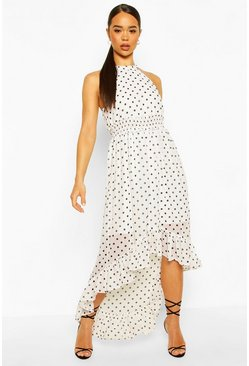 White Polka Dot High Neck Shirred Waist Maxi Dress