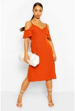 Rust orange Strappy Cold Shoulder Midi Dress