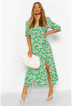 Green Daisy Print V Neck Split Front Midaxi Dress