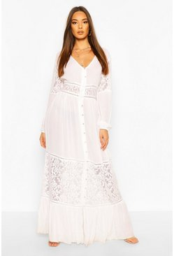 Crochet Insert Maxi Dress, Ivory blanco