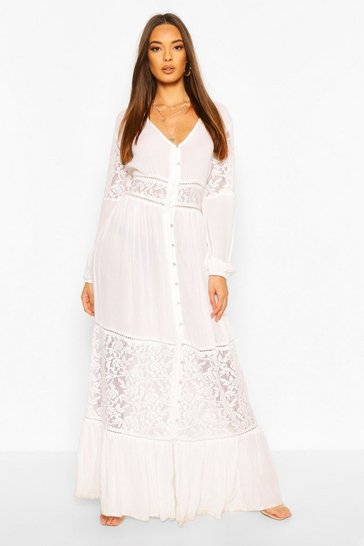 Ivory white Crochet Insert Maxi Dress