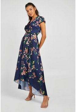 Navy Cap Sleeve Tie Waist Floral Midaxi Dress