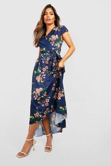 Navy Cap Sleeve Tie Waist Floral Midaxi Dress