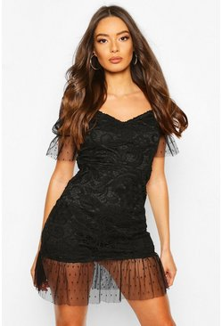 Black Lace Polka Dot Mesh Frill Hem Mini Dress