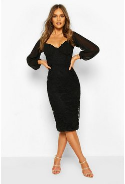 Black Mesh Cupped Lace Bodycon Midi Dress
