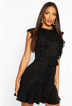 Black Lace Tie Ruffle Skater Dress