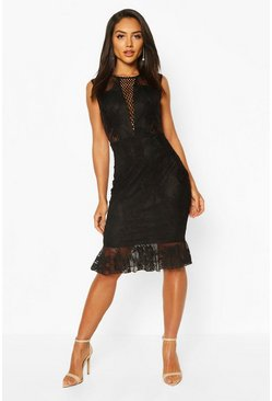 Black Lace Crochet Panel Frill Hem Midi Dress