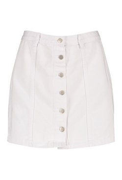 White Button Front Western Skirt