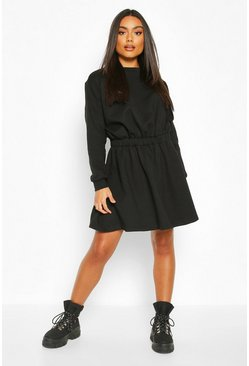Black Elasticated Waist Smock Sweatshirt Dress