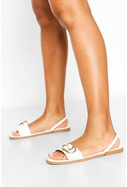 White Wide Fit Buckle Trim Sling Back Sandals