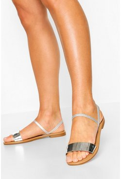 Silver Wide Fit Metallic Elastic Strap Sandals