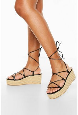 Black Wrap Up Espadrille Wedges