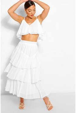 White Chiffon Shoulder Top & Ruffle Midi Skirt Two-Piece Set