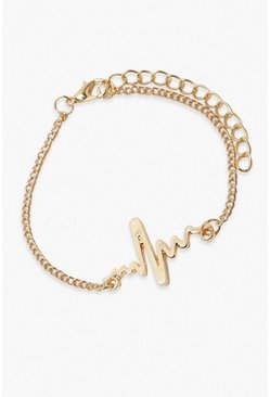 Gold metallic Heart Rate Bracelet