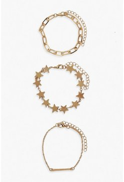 Gold metallic Star & Chain Bracelet 3 Pack