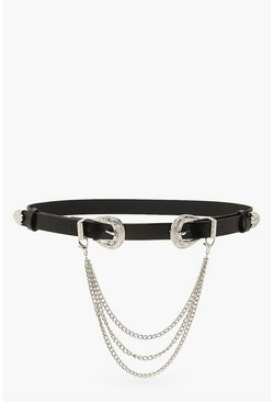 Black Double Western Buckle And Chain Belt