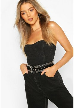 Black Double Buckle Studded Waist Belt