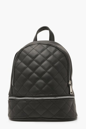 Black Quilted Zip Around Rucksack