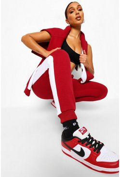 Berry Contrast Panel Tracksuit with Woman Embroidery