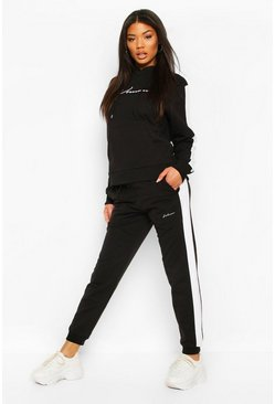 Black Contrast Panel Tracksuit with Woman Embroidery