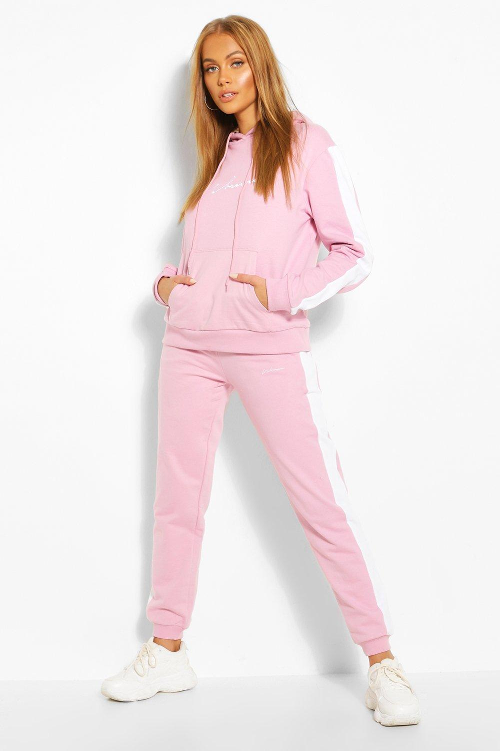 Sale Trousers Contrast Panel Tracksuit with Woman Embroidery