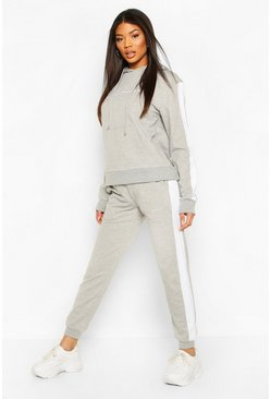 Grey Contrast Panel Tracksuit with Woman Embroidery
