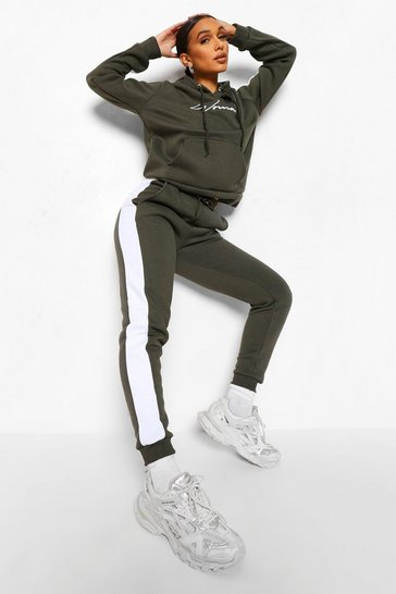 Khaki Contrast Panel Tracksuit with Woman Embroidery