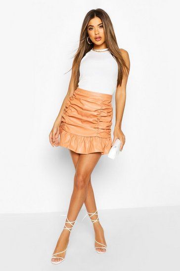 Peach orange Ruched Front Leather Look Mini Skirt