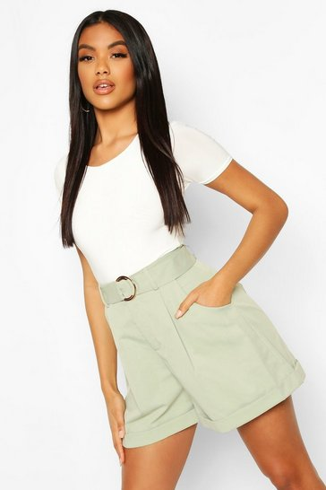 Sage green Belted Turn Up D Ring Utility Shorts