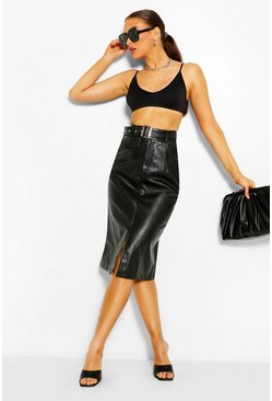 Black Leather Look Belted Midi Skirt