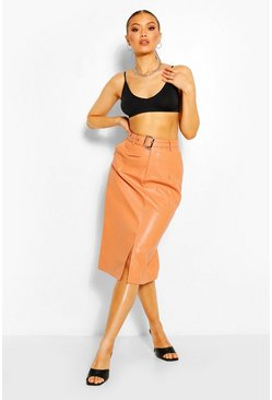 Peach orange Leather Look Belted Midi Skirt