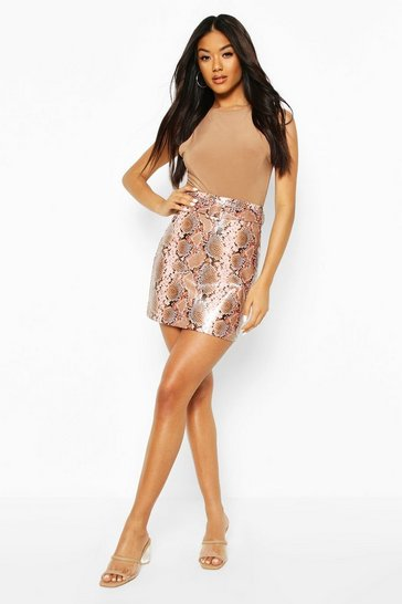 Nude Faux Snake Skin Leather Look Mini Skirt