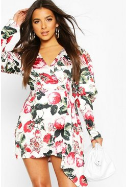 Ivory white Volume Sleeve Wrap Front Floral Playsuit