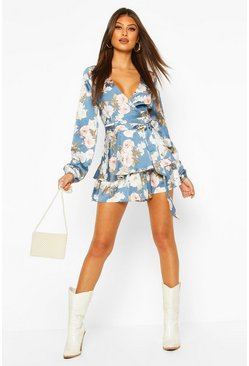 Petrol grey Balloon Sleeve Double Layer Floral Playsuit