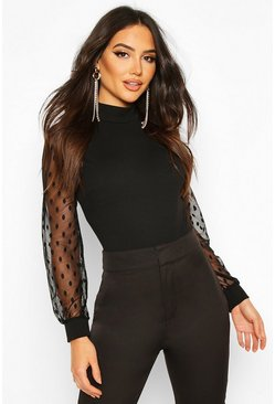 Black Polka Dot Mesh Sleeve High Neck Bodysuit