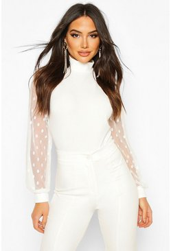 Ivory white Polka Dot Mesh Sleeve High Neck Bodysuit