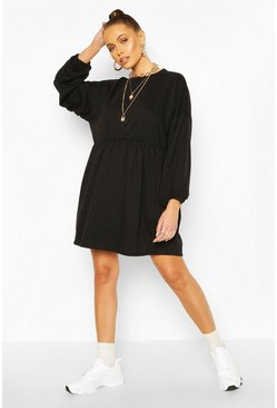Black Ruched Sleeve Oversized Sweatshirt Dress