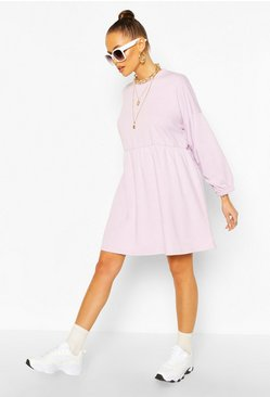 Lilac purple Ruched Sleeve Oversized Sweatshirt Dress