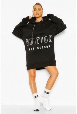 Black Contrast Tape Slogan Oversized Sweatshirt Dress