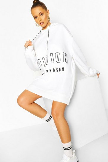 White Contrast Tape Slogan Oversized Sweatshirt Dress