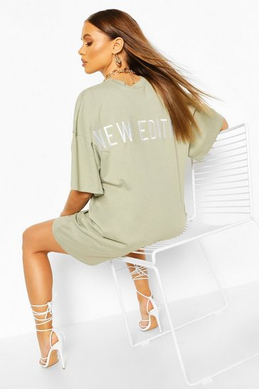 Sage Embroidered Back Slogan Oversized T-shirt Dress