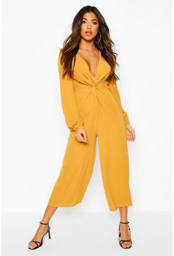 Mustard yellow Plunge Knot Front Culotte Jumpsuit