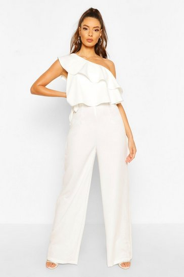 Ivory white One Shoulder Occasion Jumpsuit