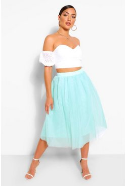 Mint Bardot Lace Top And Tulle Midi Skirt Co-ord Set