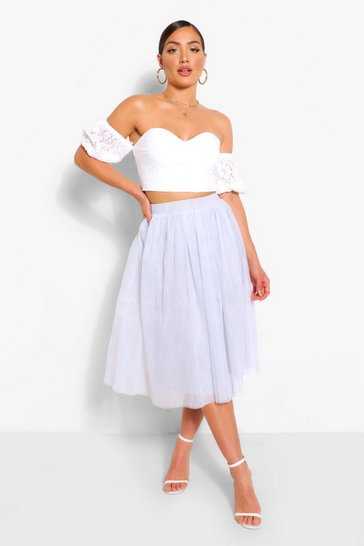 Silver Bardot Lace Top And Tulle Midi Skirt Co-ord Set