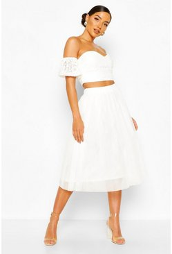 White Off The Shoulder Lace Top And Tulle Midi Skirt Two-Piece Set