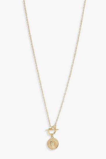 Gold metallic Hook & Bar Pendant Necklace