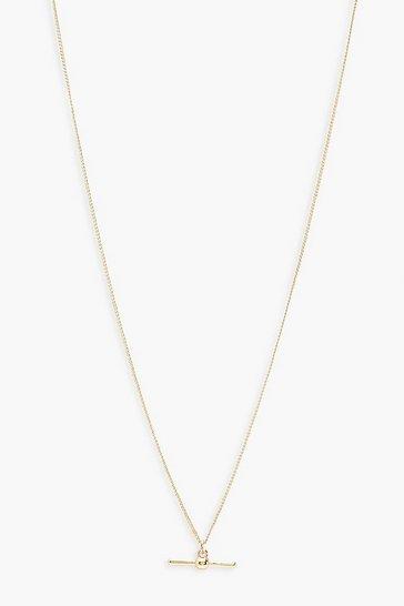 Gold metallic T-Bar Detail Necklace